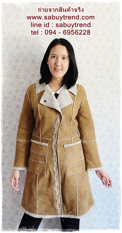 ((ขายแล้วครับ))((จองแล้วครับ))ca-2531 เสื้อโค้ทกันหนาวผ้าชามัวร์สีน้ำตาล รอบอก40