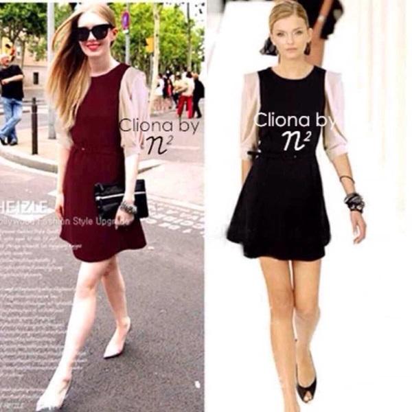 Two Tone Dress มินิเดรสแขนสองส่วน พร้อมเข็มขัด สีแดง สีดำ