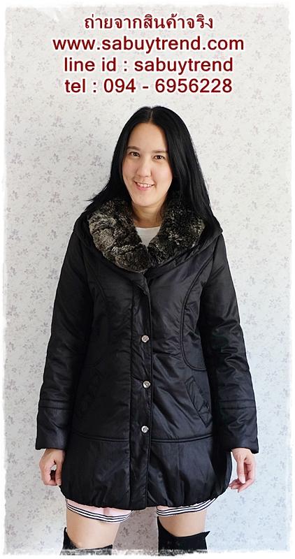 ((ขายแล้วครับ))ca-2633 เสื้อโค้ทกันหนาวผ้าร่มสีดำ รอบอก38