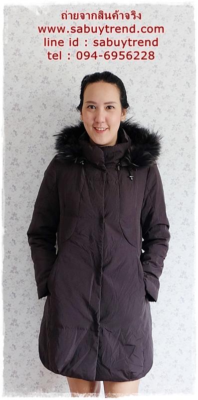 ((ขายแล้วครับ))((จองแล้วครับ))ca-2799 เสื้อโค้ทขนเป็ดสีดำควันบุหรี่ รอบอก37