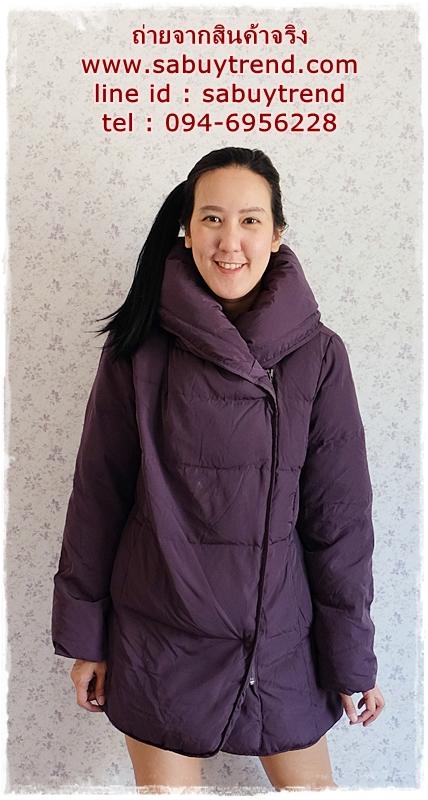 ((ขายแล้วครับ))((จองแล้วครับ))ca-2881 เสื้อโค้ทขนเป็ดสีม่วง รอบอก44