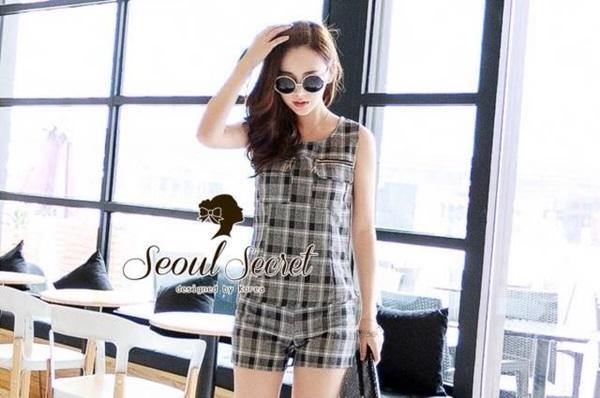 Seoul Secret ชุดเซ็ทเสื้อพร้อมกางเกงขาสั้นลายสก๊อต