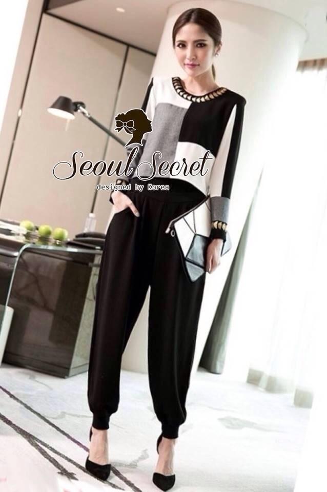 Seoul Secret ชุดเซ็ท เสื้อแขนยาว กางเกงทรงฮาเล็ม