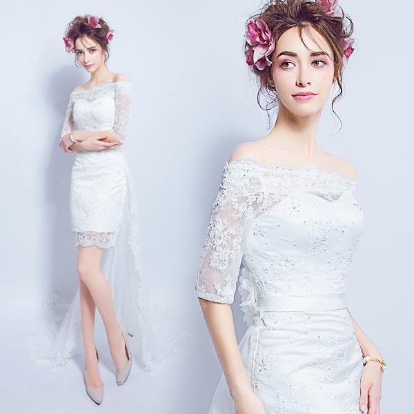 (เช่าชุดราตรี) ชุดแต่งงาน <ไหล่ปาด แขนยาว สีขาว> รหัสสินค้า EK-WDS0148
