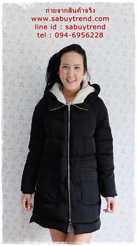 ((ขายแล้วครับ))(คุณjimmyจองครับ))ca-2784 เสื้อโค้ทขนเป็ดสีดำ รอบอก40