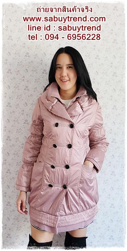 ((ขายแล้วครับ))ca-2630 เสื้อโค้ทกันหนาวผ้าร่มสีชมพูม่วง รอบอก36