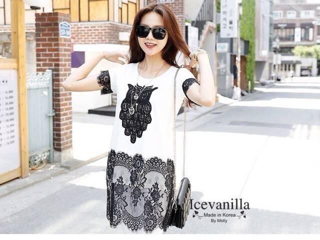 IceVanilla Owl 3D Lace Stitching Dress