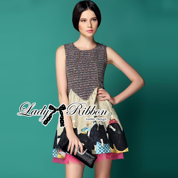 Lady Ribbon Princess Feminine Printed Jacquard Dress