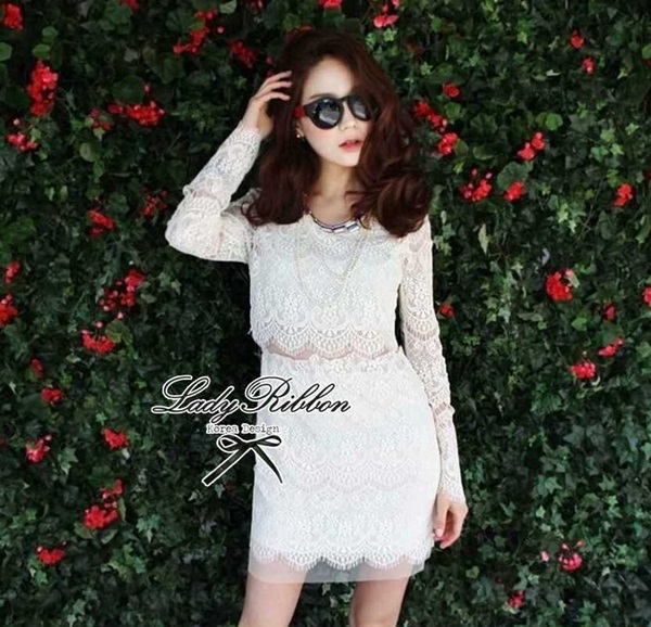 Lady Ribbon Lace Mini Dress มินิเดรสแขนยาว ดีเทลลูกไม้ทั้งตัว