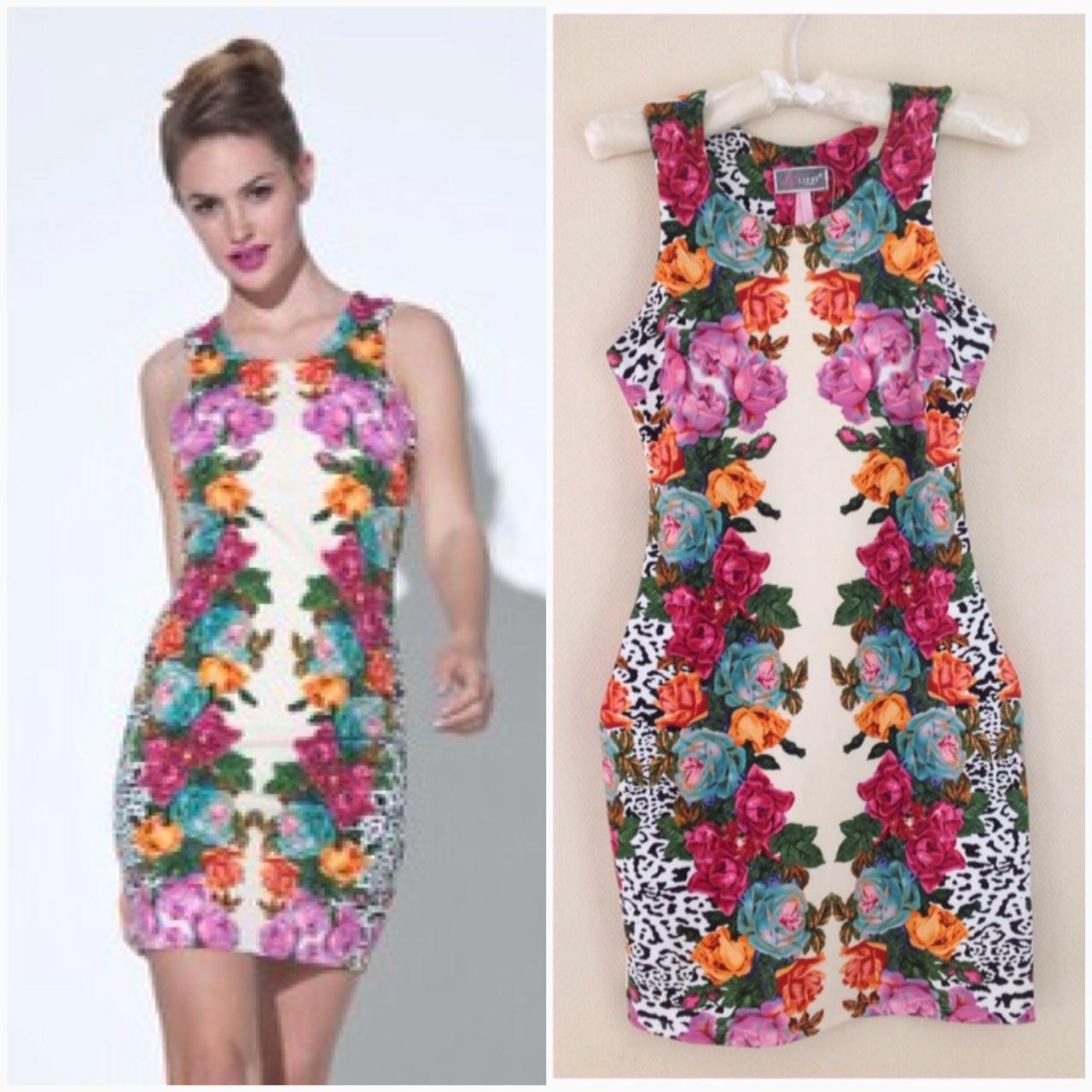 Lipsy bodycon Floral print dress Size UK10