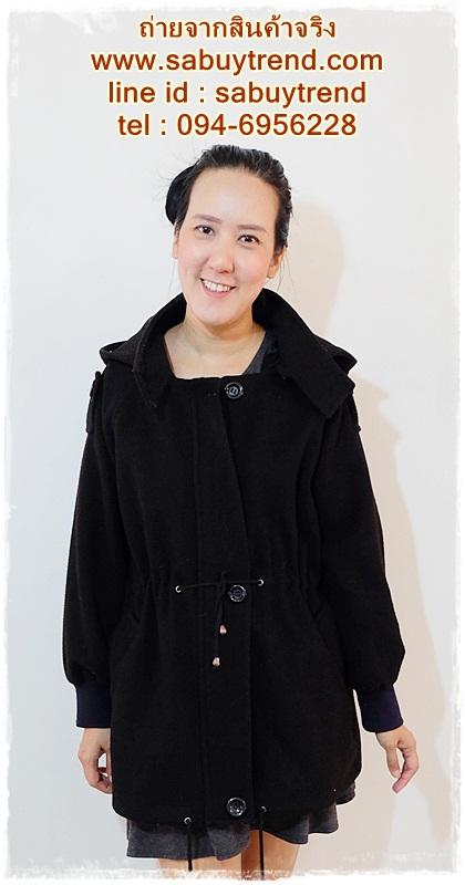 ((ขายแล้วครับ))((คุณMeenจองครับ))ca-2957 เสื้่อโค้ทกันหนาวผ้าวูลสีดำ รอบอก44