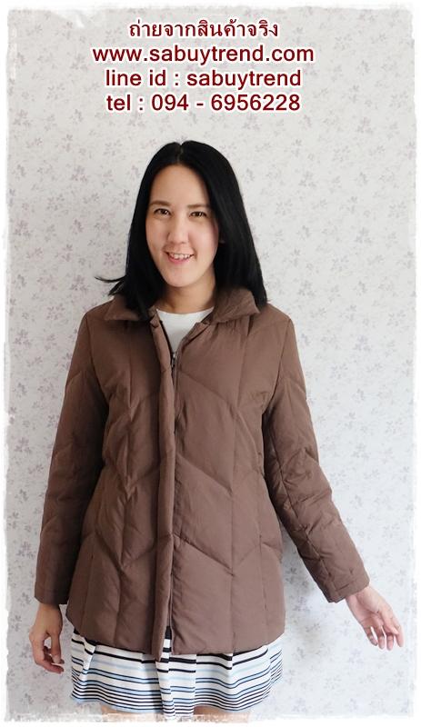 ((ขายแล้วครับ))((จองแล้วครับ))ca-2575 เสื้อโค้ทกันหนาวผ้าร่มขนเป็ดสีน้ำตาล รอบอก41