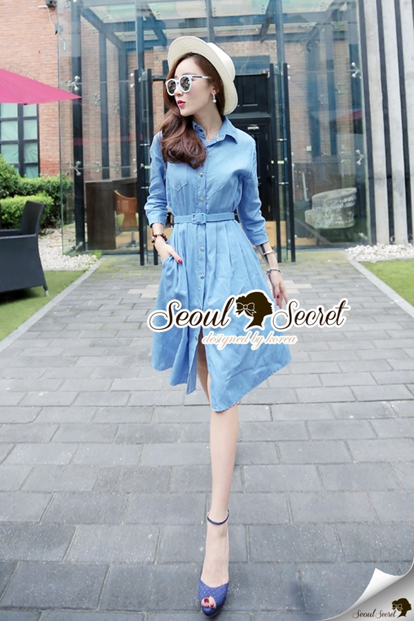 Seoul Secret Chic Denim Dress Shirt