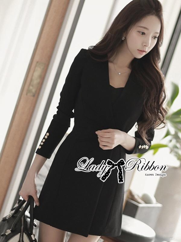 Lady Ribbon Smart Casual Wrap Suit Dress