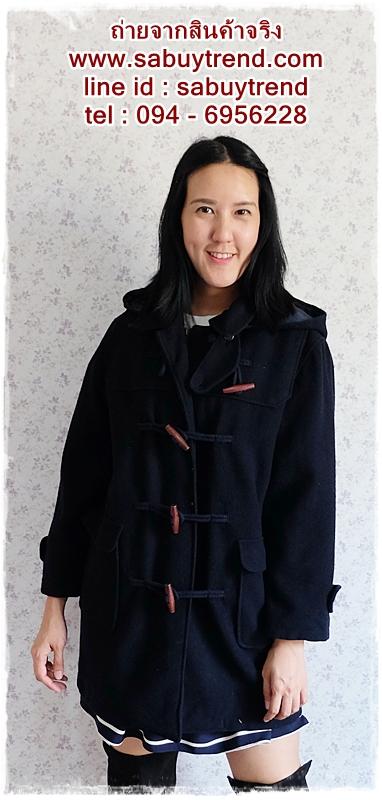 ((ขายแล้วครับ))((จองแล้วครับ))ca-2566 เสื้อโค้ทกันหนาวผ้าวูลสีกรมท่า รอบอก42
