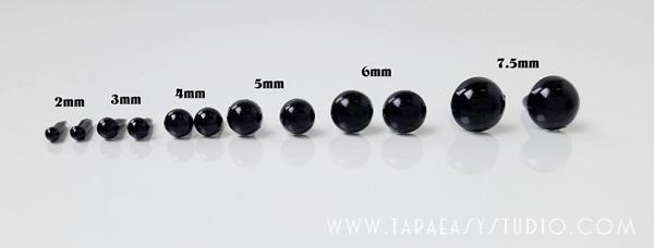 ลูกตาถั่วดำก้านเสียบ PE มี 5 ขนาด 2mm, 3mm ,4mm,5mm,6mm,7.5mm/คู่
