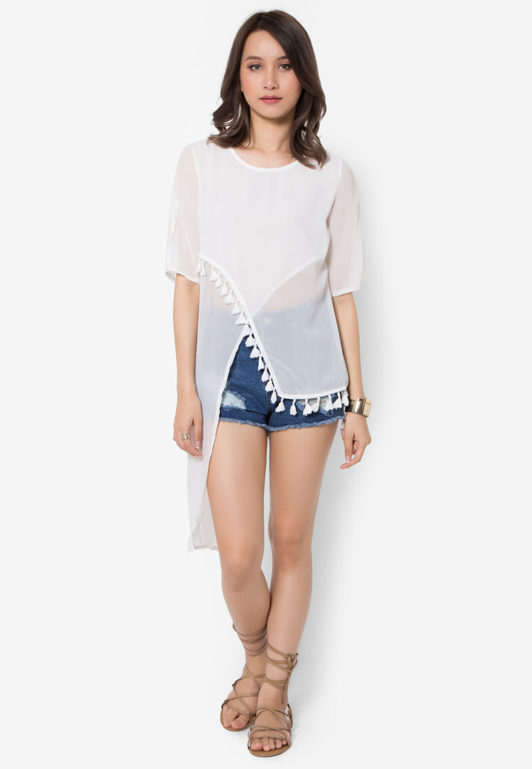 เสื้อเบลาส์ Asymmetrical Wrap With Tassels