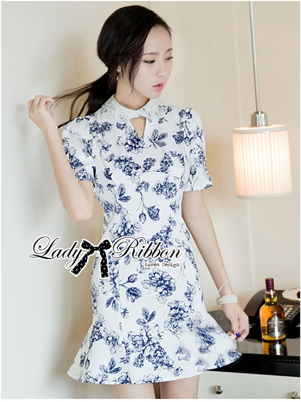 Lady Ribbon Collar Blue Floral Blooming Chinoise Dress