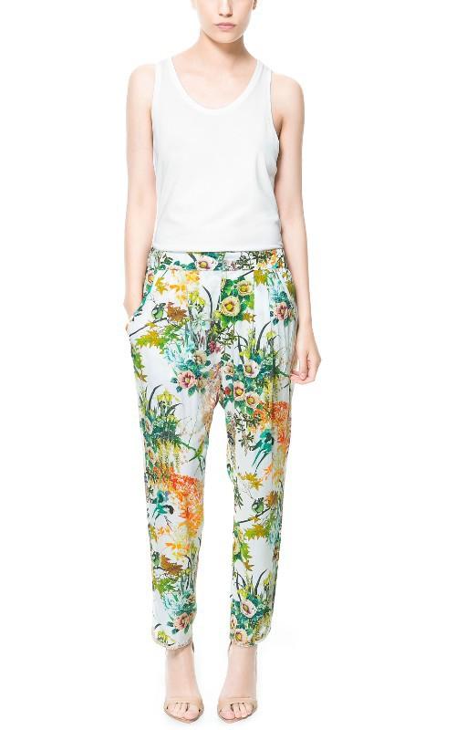 ZARA กางเกงผ้าพิมพ์ลายดอก
