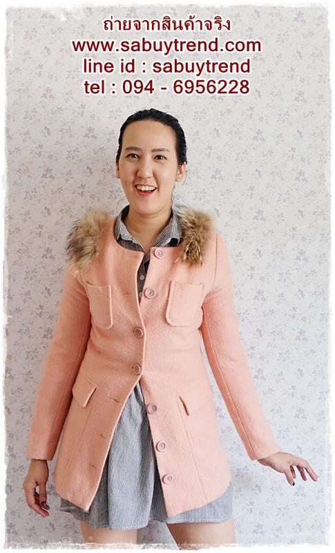 ((ขายแล้วครับ))((คุณPจองครับ))ca-2705 เสื้อโค้ทกันหนาวผ้าวูลสีชมพูปูน รอบอก34