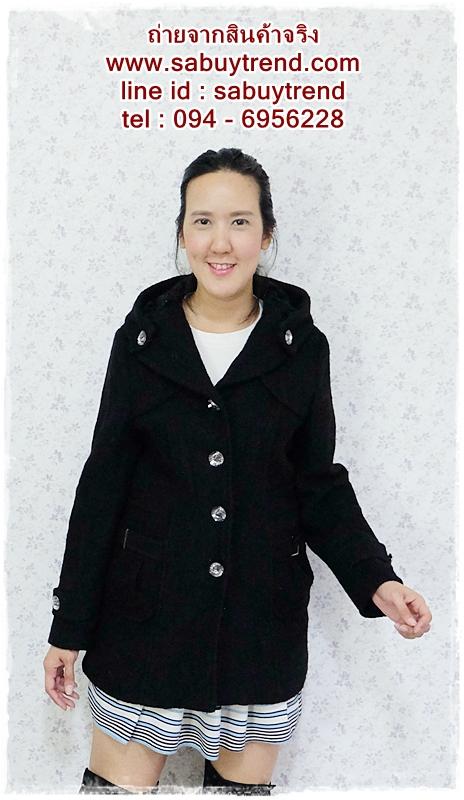 ((ขายแล้วครับ))((คุณMoonoiจองครับ))ca-2624 เสื้อโค้ทกันหนาวผ้าวูลสีดำ รอบอก36