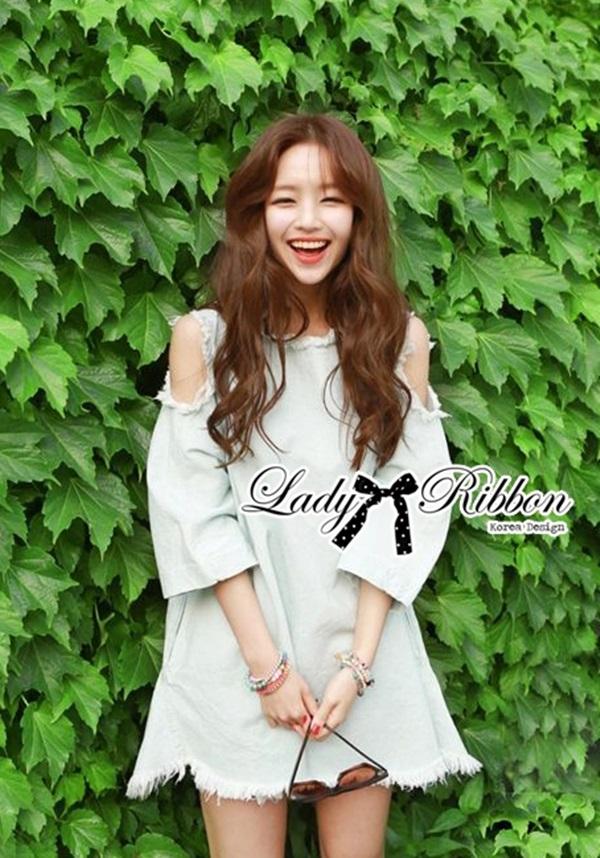 Lady Ribbon Cut-Out Loose Denim Dress