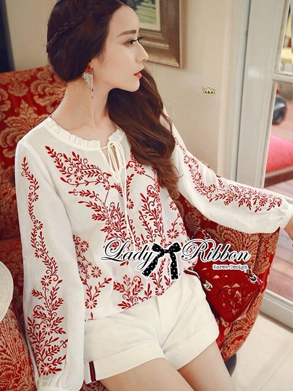 Lady Ribbon Top เสื้อแขนยาวสีขาวปักลายธรรมชาติ สีแดง