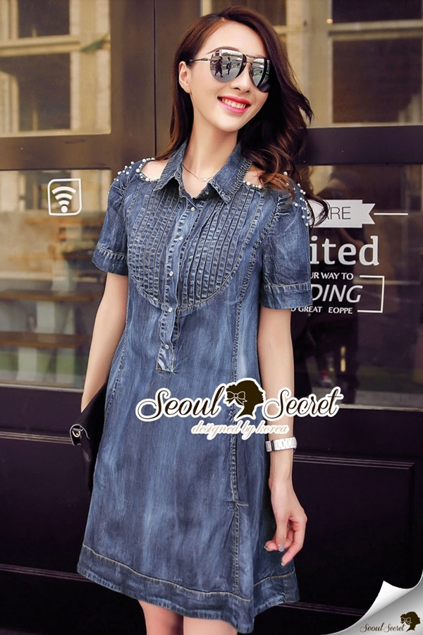 Seoul Secret Carroll Curve Shoulder Dimond Dress