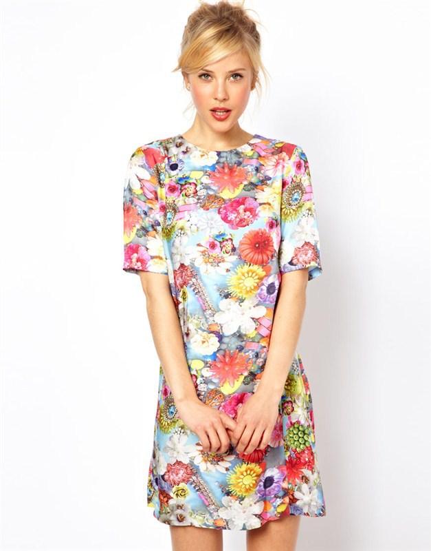 GANLAN เดรส ผ้าพิมพ์ลายดอกสีสดใส