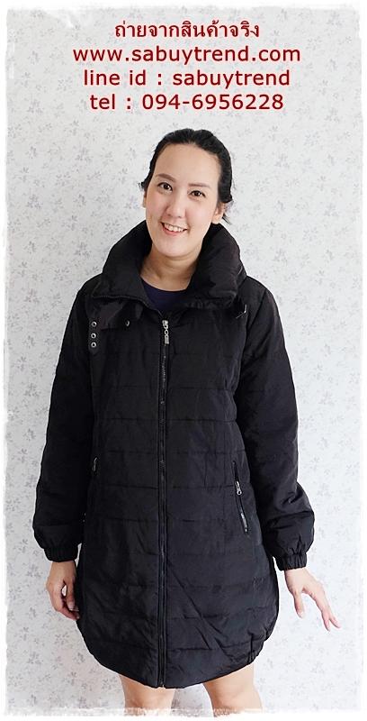 ((ขายแล้วครับ))((คุณAopappจองครับ))ca-2803 เสื้อโค้ทขนเป็ดสีดำ รอบอก40