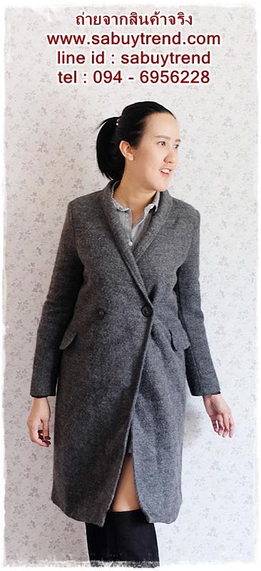 ((ขายแล้วครับ))((จองแล้วครับ))ca-2720 เสื้อโค้ทกันหนาวผ้าวูลสีเทา รอบอก36