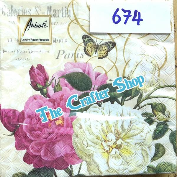 napkin ลายดอกไม้ (รหัสสินค้า NA-674)