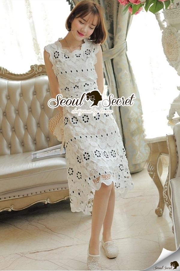 Seoul Secret Classy Flora Lace Dress
