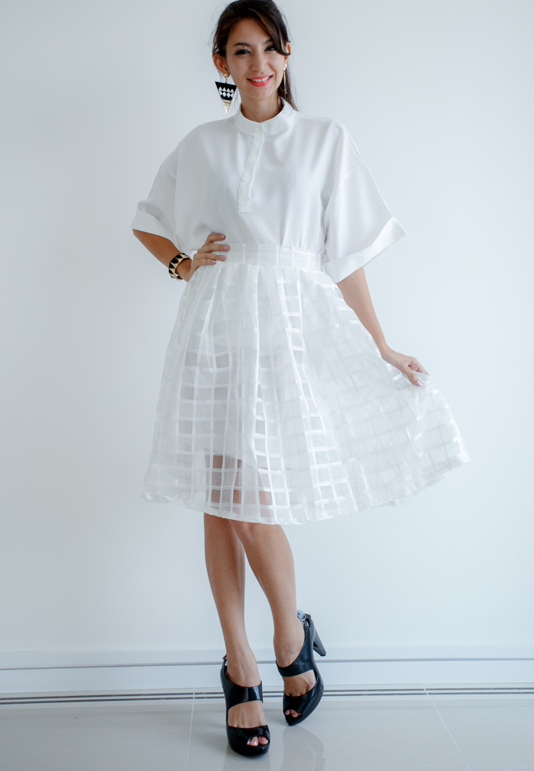 Mirror Dress's Organza Chest Skirt - White