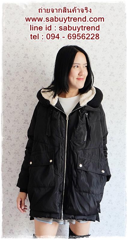 ((ขายแล้วครับ))((คุณพิตรจิตจองครับ))ca-2672 เสื้อโค้ทกันหนาวผ้าร่มขนเป็ดสีดำ รอบอก46