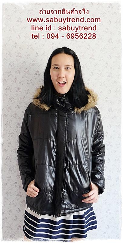 ((ขายแล้วครับ))((คุณNingจองครับ))ca-2554 เสื้อโค้ทกันหนาวผ้าร่มสีดำ รอบอก46
