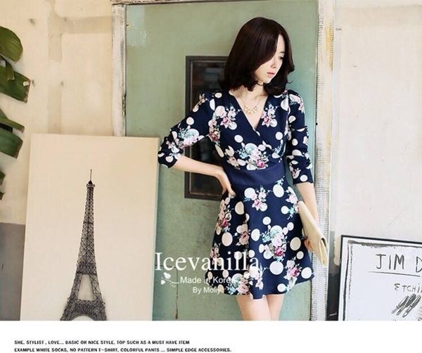 Icevanilla Vivid Roses Romantic Polka Dot Dress