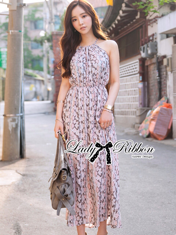 Lady Ribbon Lady Pauly Sexy Python Maxi Dress