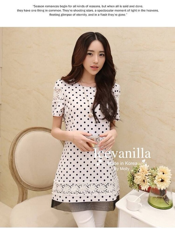 Icevanilla Diva Striped Stitching Lace Dress