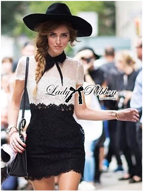 Lady Ribbon Collared Color-Block Lace Dress