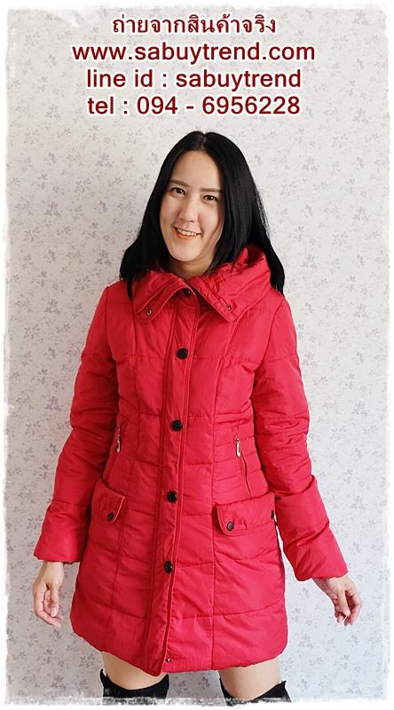 ((ขายแล้วครับ))((คุณSomitaจองครับ))ca-2688 เสื้อโค้ทกันหนาวผ้าร่มขนเป็ดสีแดง รอบอก38