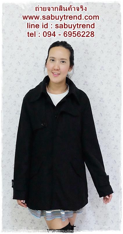 ((ขายแล้วครับ))((คุณMuddyจองครับ))ca-2622 เสื้อโค้ทกันหนาวผ้าวูลสีดำ รอบอก40