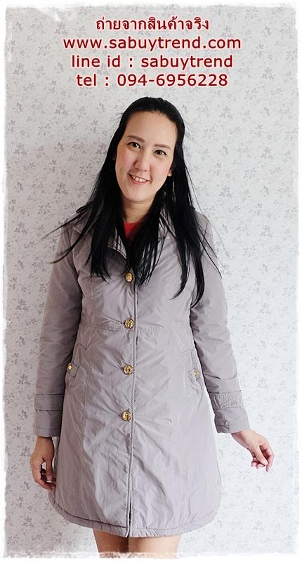 ((ขาย่แล้วครับ))((คุณแม่เอ๋จองครับ))ca-2822 เสื้อโค้ทกันหนาวผ้าร่มสีเทา รอบอก36