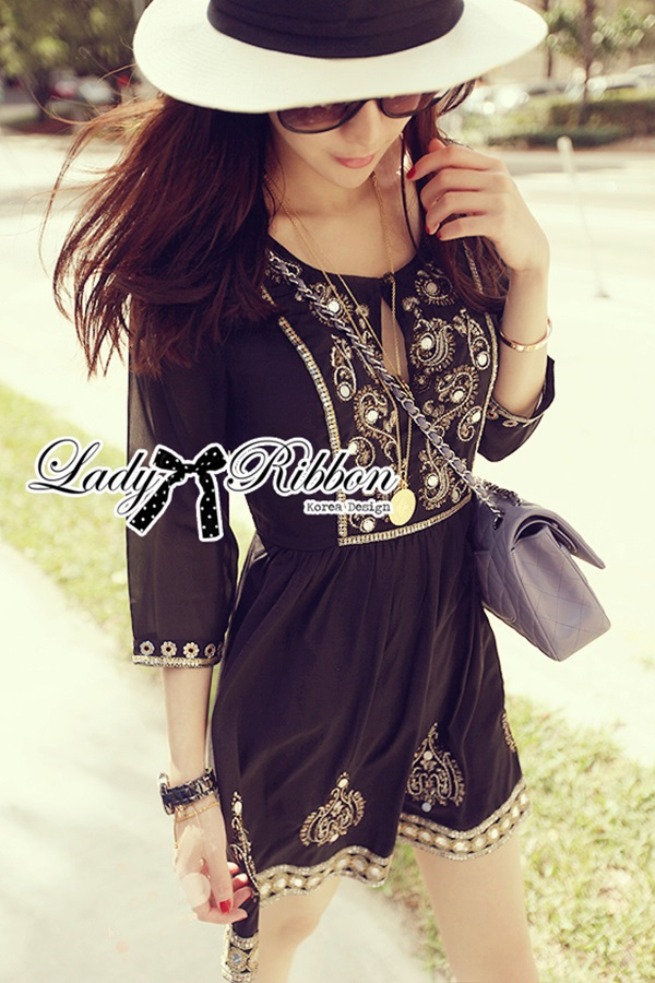 Lady Ribbon Black Bohemian Dress Gold Deco