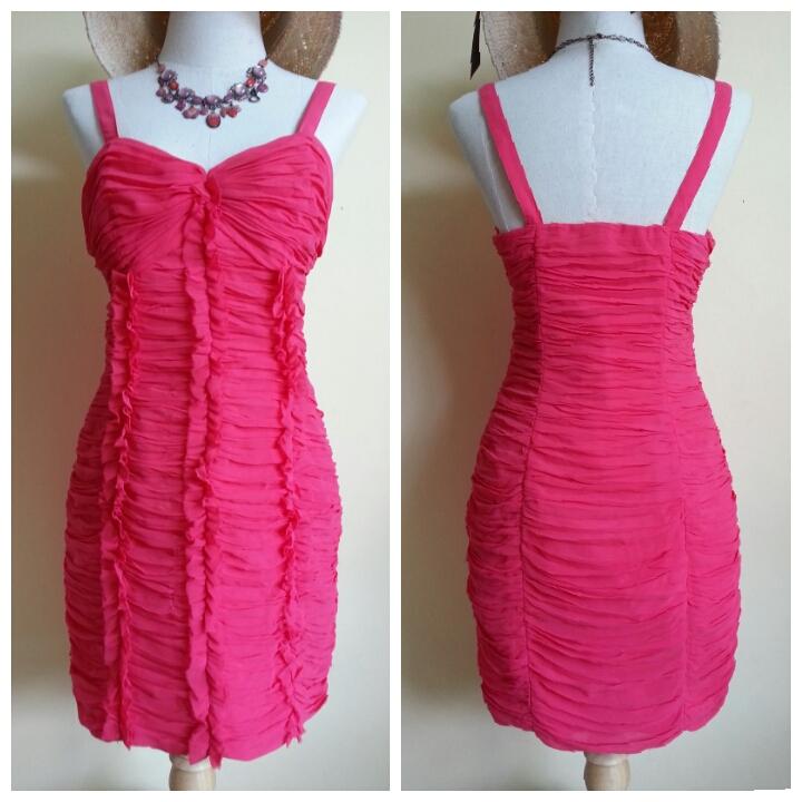 Lipsy Gathered Frill Front Dress Size uk10