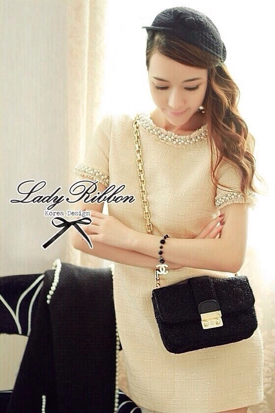 Lady Ribbon Pearly Embellish Tweet Mini Dress เดรสแต่งมุก
