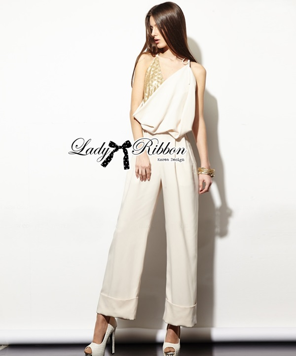 Lady Ribbon Sexy Gold Sequin Nude Jumpsuit