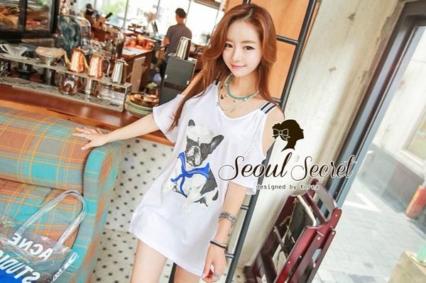 Seoul Secret Navy Doggy Print Tang-Top Dress