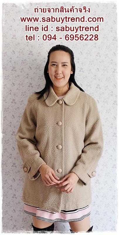((ขายแล้วครับ))ca-2698 เสื้อโค้ทกันหนาวผ้าวูลสีเบส รอบอก44