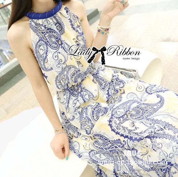 Lady Ribbon Maxi Dress เดรสยาวแขนกุด พิมพ์ลายเพสลีย์